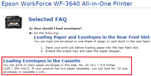 I need help printing an envelope from the back paper tray on a