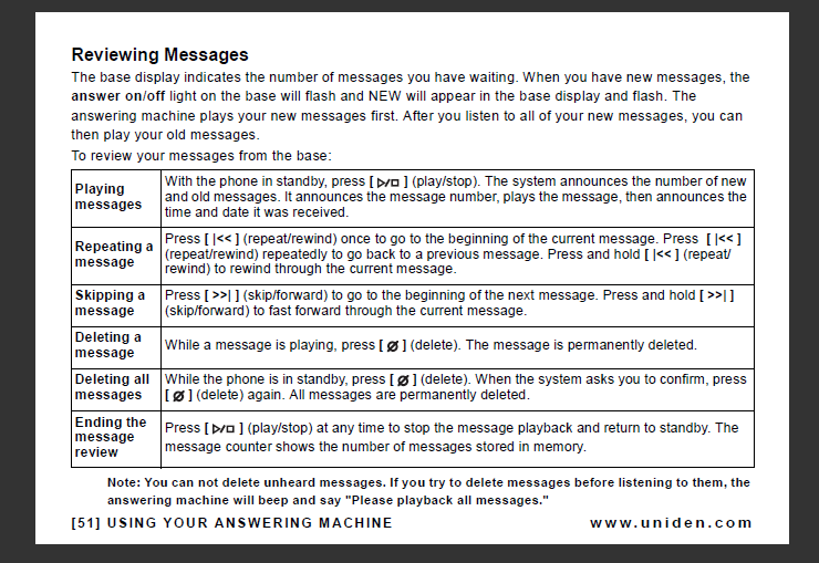 uniden answer phone instructions